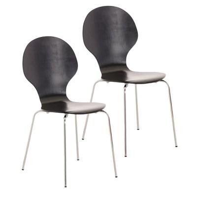 Lote 2 Sillas de Cocina o Comedor CARLO, ergonómicas, en madera y metal, modelo apilable, en Negro