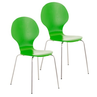 Lote 2 Sillas de Cocina o Comedor CARLO, ergonómicas, en madera y metal, modelo apilable, en Verde