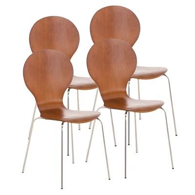 Lote 4 Sillas de Cocina o Comedor CARLO, ergonómicas, en madera y metal, modelo apilable, en Marrón cerezo