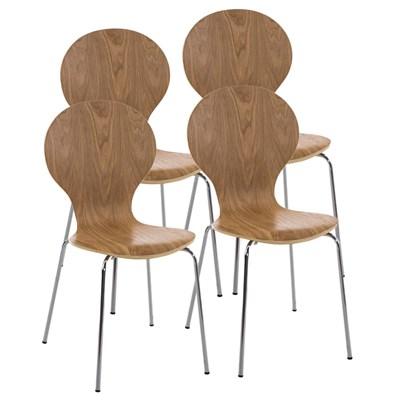 Lote 4 Sillas de Cocina o Comedor CARLO, ergonómicas, en madera y metal, modelo apilable, en Marrón roble
