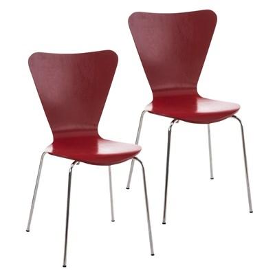 Lote 2 Sillas de Cocina o Comedor LERMA, en madera y metal, apilables, en rojo