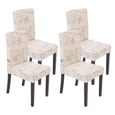 DEMO# Precioso conjunto de 4 Sillas de Comedor DALI, Diseño Moderno, Crema con motivos, patas oscuras
