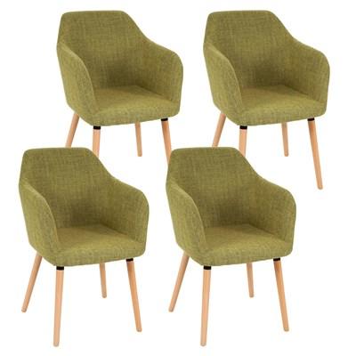 Lote de 4 Sillas de Comedor TULIO TELA, en Verde con Patas de Madera Claras