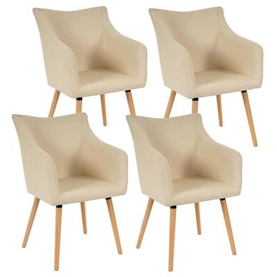 Lote de 4 sillas de Comedor CAZORLA, en Piel Crema con Patas de Madera Claras
