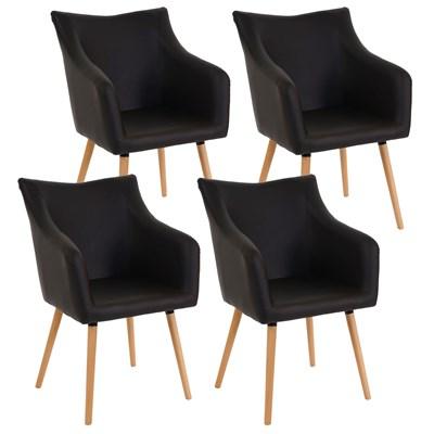 Lote de 4 sillas de Comedor CAZORLA, en Piel Marrón con Patas de Madera Claras