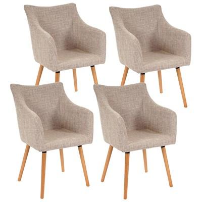 Lote de 4 sillas de Comedor CAZORLA TELA, en Crema con Patas de Madera Claras
