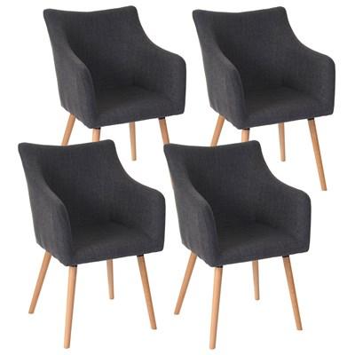 Lote de 4 sillas de Comedor CAZORLA TELA, en Gris con Patas de Madera Claras