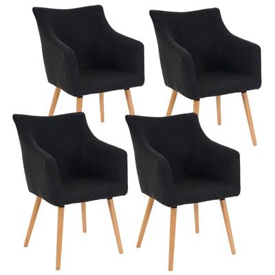 Lote de 4 sillas de Comedor CAZORLA TELA, en Gris Oscuro con Patas de Madera Claras