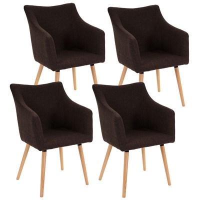 Lote de 4 sillas de Comedor CAZORLA TELA, en Marrón con Patas de Madera Claras