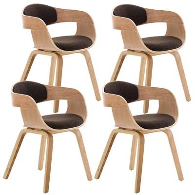 Lote de 4 sillas de Comedor BOLONIA, en Tela Marrón, Estructura de Madera color Natural