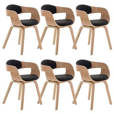 Lote de 6 sillas de Comedor BOLONIA, en Tela Gris Oscuro, Estructura de Madera color Natural