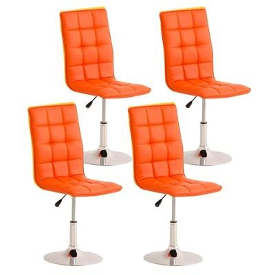 Lote de 4 sillas de Comedor o Cocina PESCARA PIEL, En Naranja, Altura Regulable