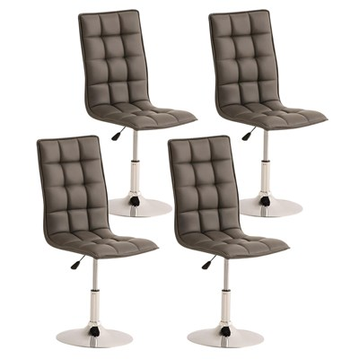 Lote de 4 sillas de Comedor o Cocina PESCARA PIEL, En Gris, Altura Regulable