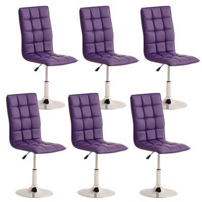 Lote de 6 sillas de Comedor o Cocina PESCARA PIEL, En Morado, Altura Regulable