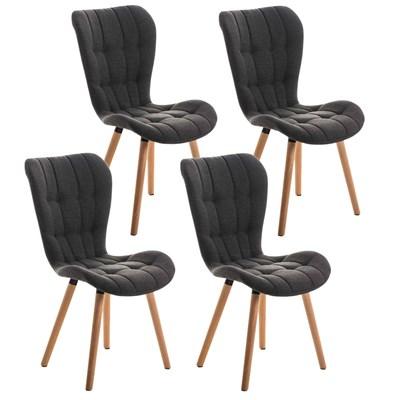 Lote de 4 sillas de Comedor PADUA, en Tela Gris Oscuro, Patas de Madera color Natural