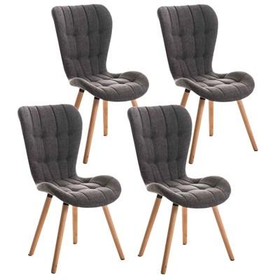 Lote de 4 sillas de Comedor PADUA, en Tela Gris Claro, Patas de Madera color Natural