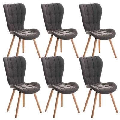 Lote de 6 sillas de Comedor PADUA, en Tela Gris Claro, Patas de Madera color Natural