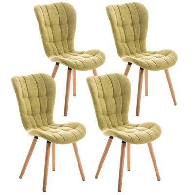 Lote de 4 sillas de Comedor PADUA, en Tela Verde, Patas de Madera color Natural