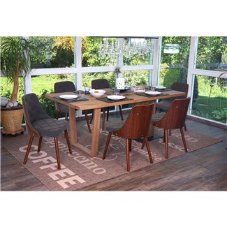 Conjunto 6 Sillas de Comedor BALEY TELA, Color Gris, Madera Maciza Color Nogal