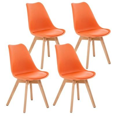 Lote de 4 Sillas de Comedor LOREN, Estructura en Plástico y Piel Naranja, Patas Claras