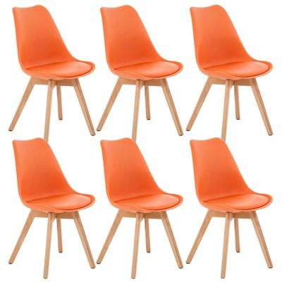 Lote de 6 Sillas de Comedor LOREN, Estructura en Plástico y Piel Naranja, Patas Claras