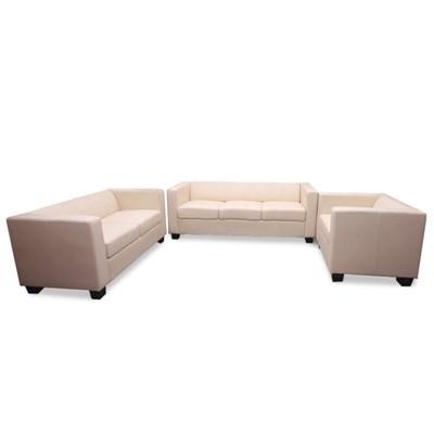 Conjunto Sofas LILLE 1 Sofa 3 Plazas + 1 Sofá 2 Plazas + 1 Sofá individual, en cuero crema