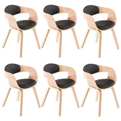 Lote de 6 Sillas de Comedor MAFO, en Piel Negra, Estructura de Madera color Natural