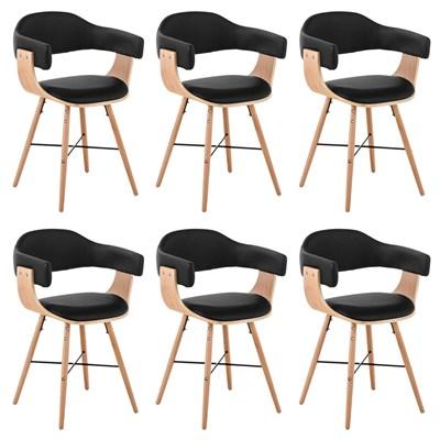 Lote de 6 Sillas de Comedor ALBATROS PIEL, en Negro, Estructura de Madera color Natural