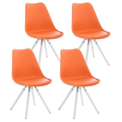 Lote de 4 Sillas de Comedor BAHIA PIEL, en Naranja y Patas Blancas