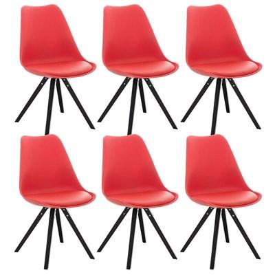 Lote de 6 Sillas de Comedor BAHIA PIEL, en Rojo y Patas Negras