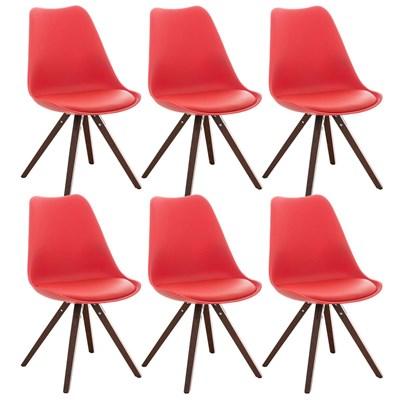 Lote de 6 Sillas de Comedor BAHIA PIEL, en Rojo y Patas Nogal