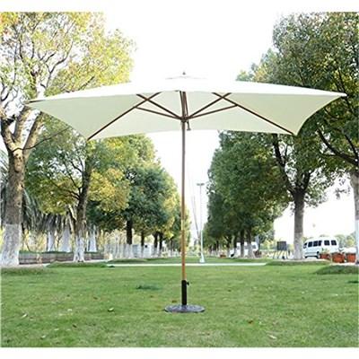 Sombrilla GARU 2 x 3 m, Estructura Madera, Resistente al Agua y Sol, Color Crema