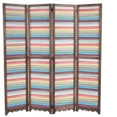 Biombo 4 paneles BLANDIN, Estructura de Madera en Marrón y Multicolor, 170x160x2cm