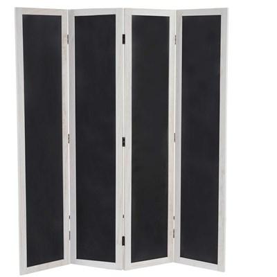 Biombo 4 paneles TAMY, de Madera color Blanco y Pizarra, 155x137x2cm