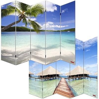 Biombo separador M68, dimensiones 180x200cm, decorado ambas caras, diseño playa