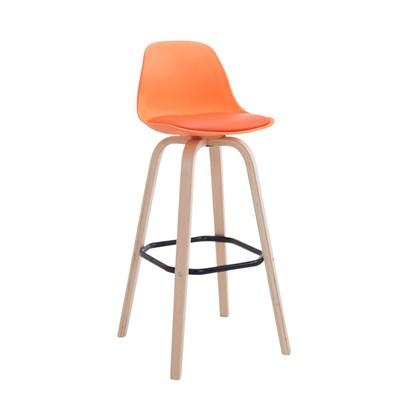 Taburete con Respaldo ROXIO, Estructura de Madera, en Piel color Naranja y Patas Claras