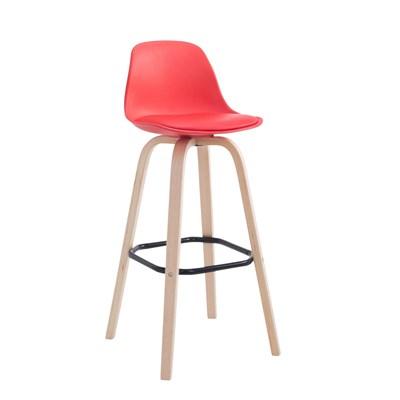Taburete con Respaldo ROXIO, Estructura de Madera, en Piel color Rojo y Patas Claras