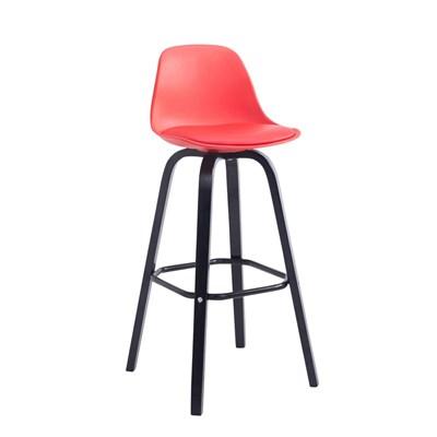 Taburete con Respaldo ROXIO, Estructura de Madera, en Piel color Rojo y Patas Negras