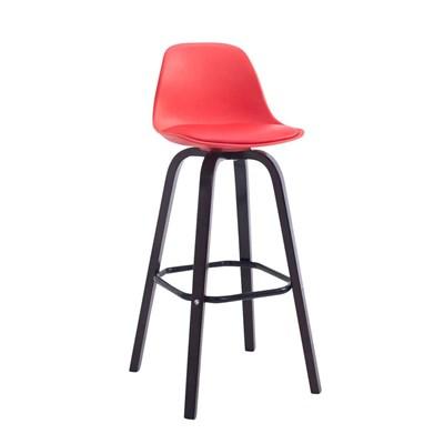 Taburete con Respaldo ROXIO, Estructura de Madera, en Piel color Rojo y Patas Oscuras