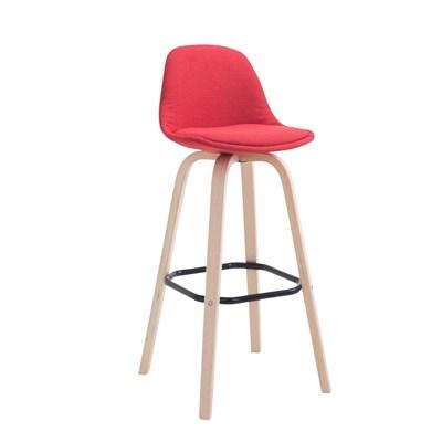 Taburete con Respaldo ROXIO TELA, Estructura de Madera, en color Rojo y Patas Claras