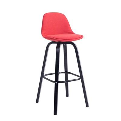 Taburete con Respaldo ROXIO TELA, Estructura de Madera, en color Rojo y Patas Negras