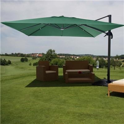 Sombrilla / Parasol HELIOS CON SOPORTE, de 3 x 3 metros, Ajustable, Cruz de suelo Incluida, en Verde