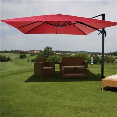 Parasol / Sombrilla HELIOS GIRATORIA, de 3 x 3 metros, Ajustable, Cruz de suelo Incluida, en Rojo