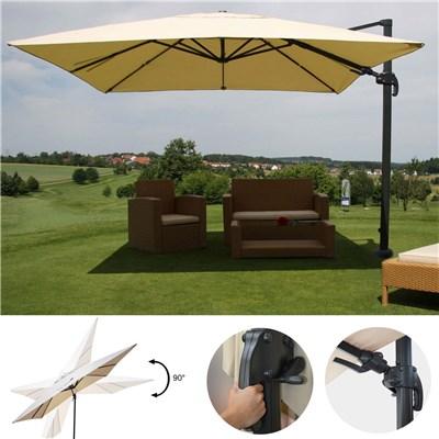 Sombrilla / Parasol POSEIDON GIRATORIA, de 3 x 3 metros, 100% Ajustable, Cruz de suelo Incluida, en Crema