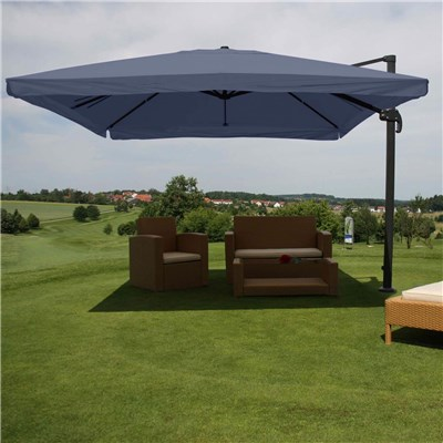 Parasol Sombrilla GIRATORIA APOLO, de 3 x 3 metros, Color Azul, Ajustable, Cruz de suelo Incluida