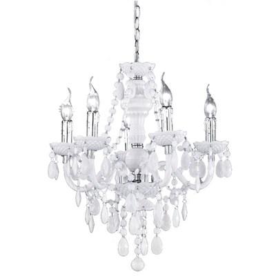 DEMO# Lámpara de Techo tipo ARAÑA, para 5 bombillas, fabricada en vidrio acrílico color blanco