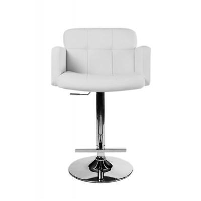 DEMO# Taburete de Diseño PAU, altura ajustable, ámplio respaldo y reposabrazos, en piel blanco