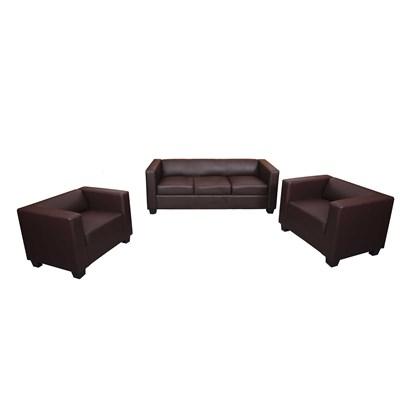 Conjunto Sofas LILLE, 1 Sofa 3 plazas + 2 Sofás individuales, en Polipiel color café