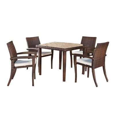 Conjunto Muebles de Jardín BARLI, en poly ratán: Mesa 80x80cm + 4 sillas, color marrón moteado