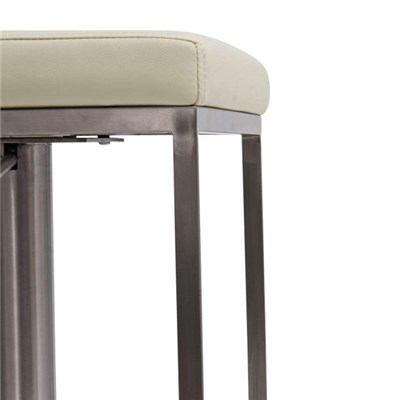 Taburete de diseño PANAMA, acero inoxidable, altura ajustable, color crema